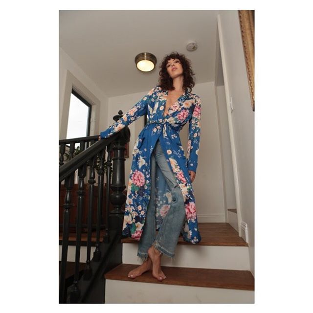 Our Blue Chinoiserie Floral on the dreamy Draper Robe. Inspired by the types of pajamas men wore in the Don Draper days of fashion.