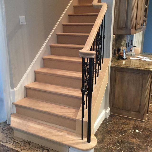 WOW!!! What a difference a full oak tread stair renovation can make!  Check out these before and after pics of this awesome stair renovation. 👀. Our client wanted custom white oak treads and handrail paired with satin black iron balusters, and we were more than happy to make it happen!  How can we make your stair dreams come true?! . . . #wilbobuild #wilboconstructiongroup #yeahwedostairs #stairwaytoheaven #customstairs #whiteoaktreads #ironbalusters #dallas #dallastexas #dallascustombuilders #wilbostairs