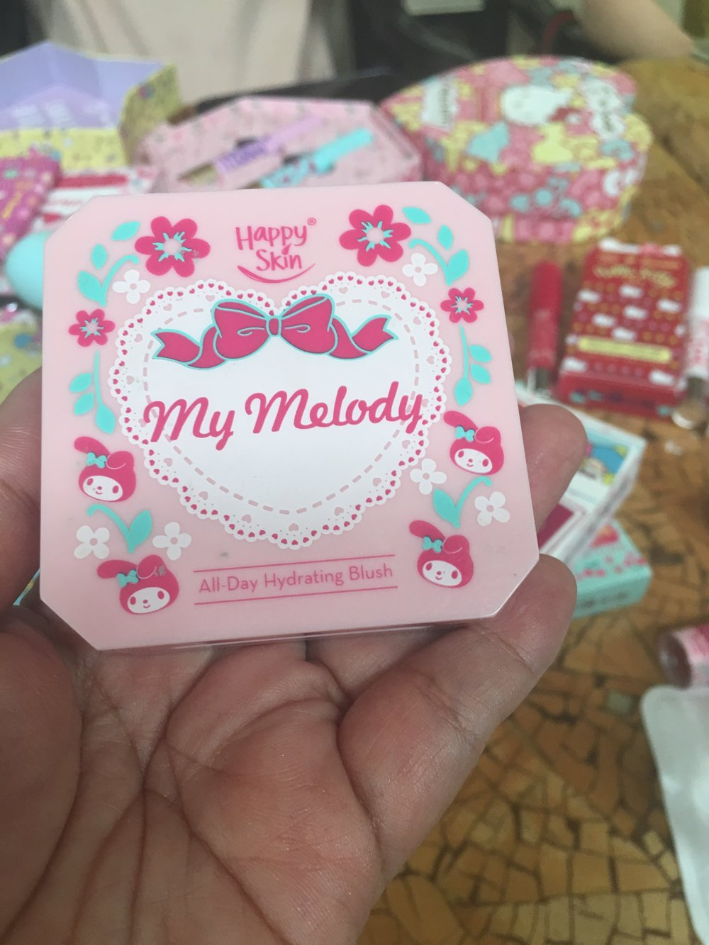 An actual closer look at the cute packaging of Happy Skin's My Melody All-Day Hydrating Blush