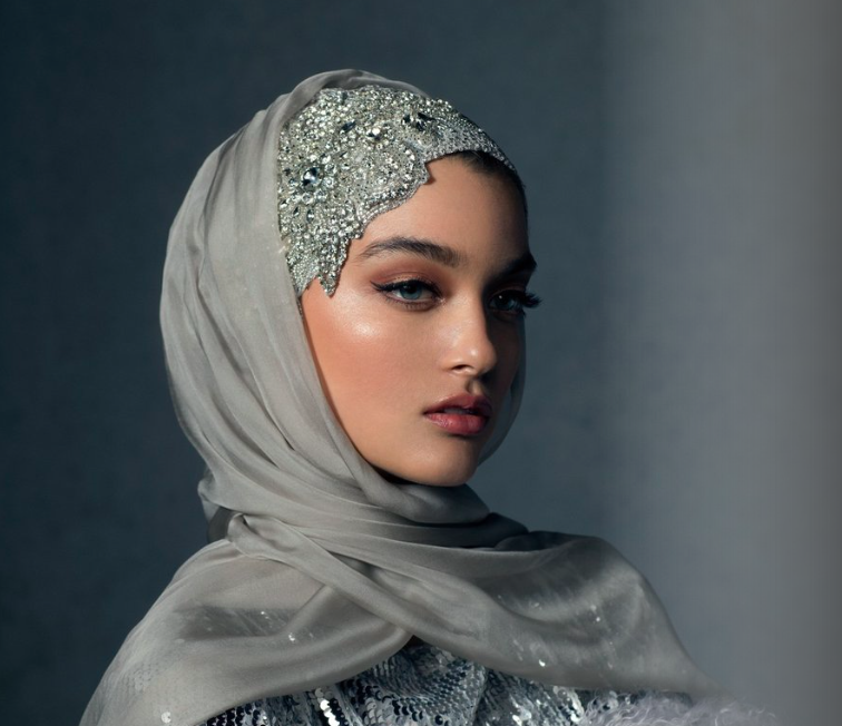 Haute Hijab    Luxury Collection in The Celestial Silver, USD 280