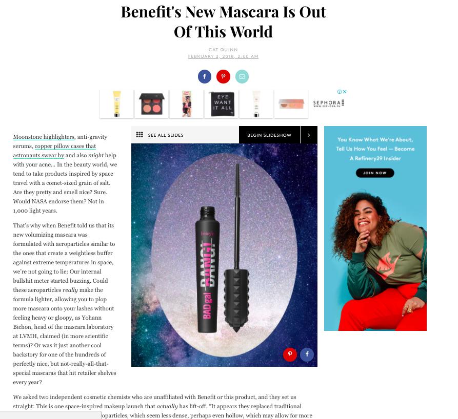 Refinery29 on Benefit Cosmetics' BADgal BANG! Mascara