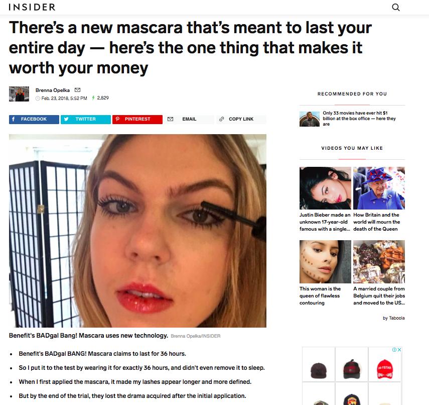 Insider on Benefit Cosmetics' BADgal BANG! Mascara
