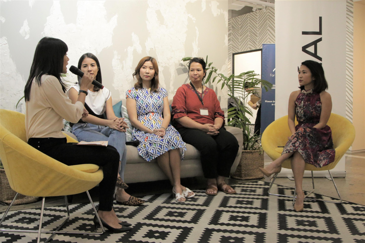 """She Talk Asia's first 'Tribe Meetup' panel not only took a deep dive on how to succeed in the field of masculinity, but also surfaced the role of men in helping women succeed.    L-R: She Talks Asia Co-Founder and Chief Operating Officer, Lynn Pinugu; Country Lead of Bumble Philippines, Alex Suarez; Rheumatalogist and Founder of the Lupus Bridging Fund, Dr. Geraldine Zamora; Physicist at the National Institute of Physics at the University of the Philippines, Dr. Maricor """"Jing"""" Soriano and L'Oreal Philippines Corporate Communications Manager, Carmel Valencia."""