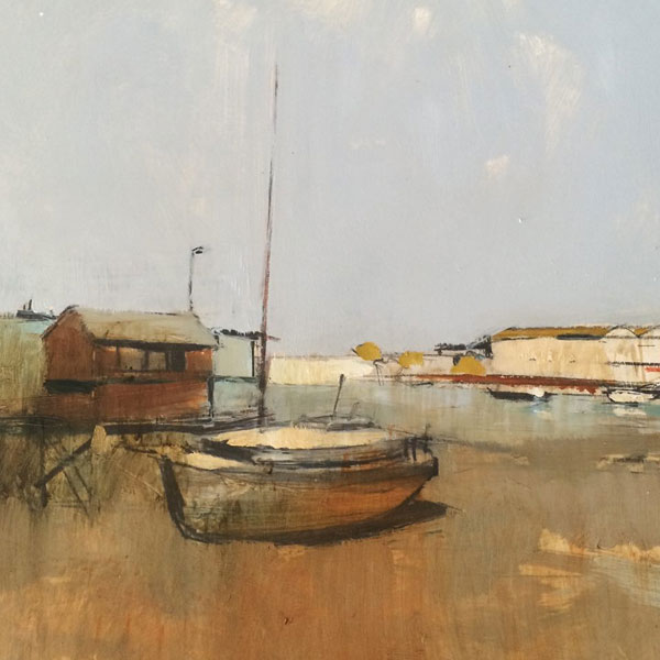 Old Boat, Shoreham  Oil on gesso, 22x22cm SOLD
