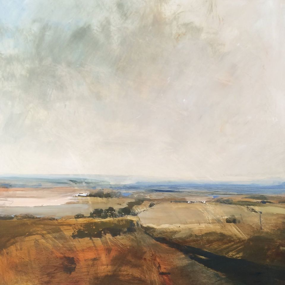 Fields near Glyndebourne  Oil on gesso, 40x40cm SOLD