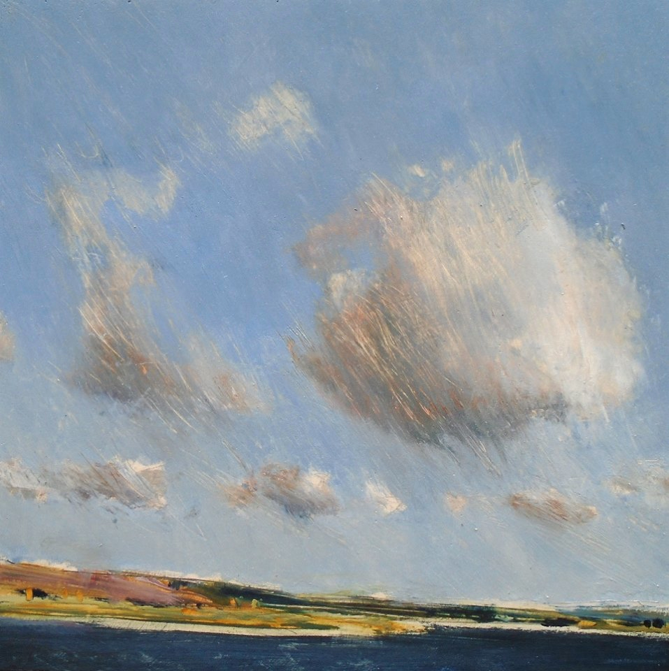 Clouds over Cuckmere Haven Oil on gesso, 22x22cm SOLD