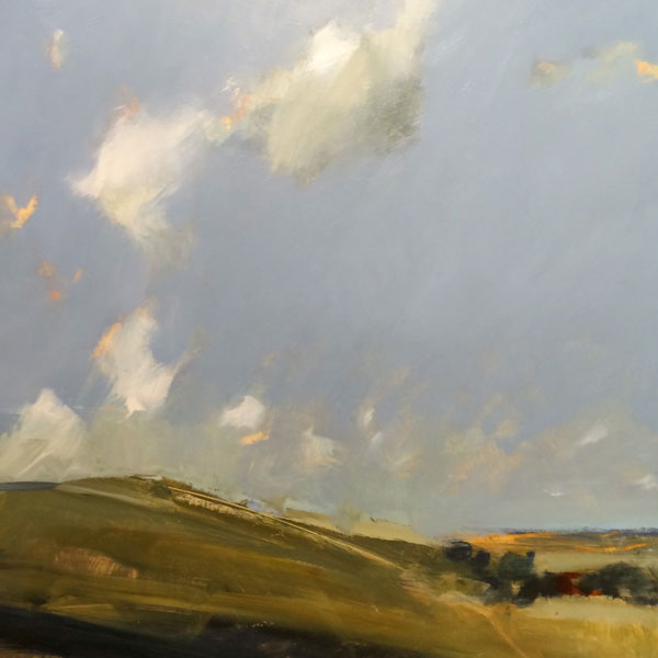 Circle of clouds, Firle Beacon Oil on gesso, 40x40cm SOLD