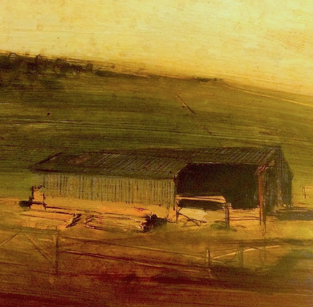 Sussex Barn Oil on gesso, 22x22cm SOLD