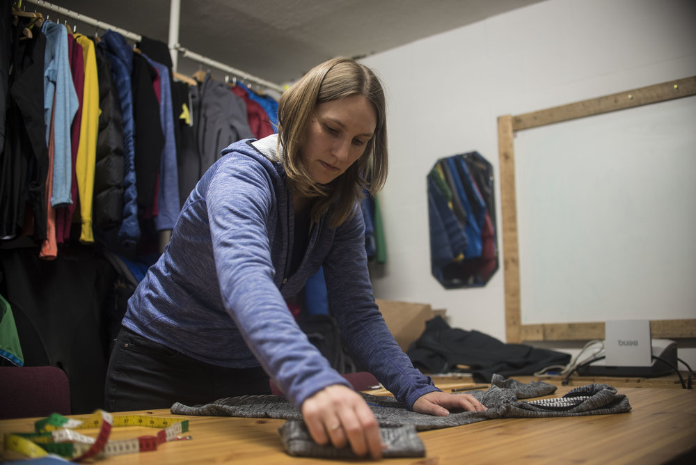 Ronnie talking through the features of the new Griffon fleece, due out in May.  Photo: Matt Tomlinson, Alpkit