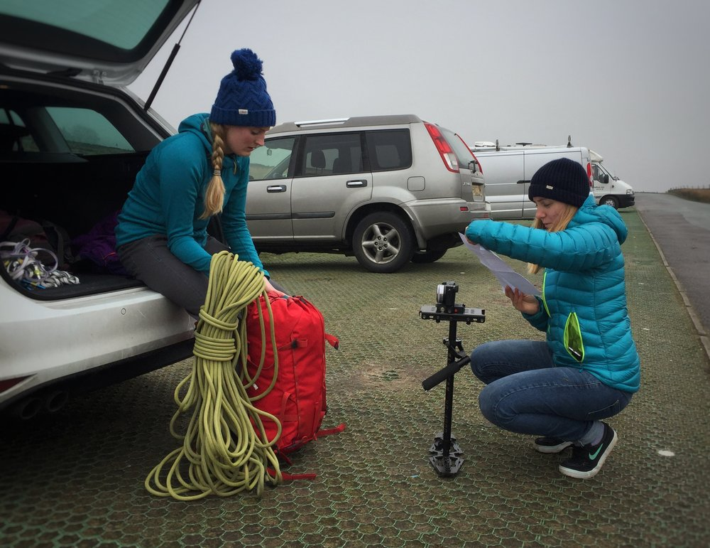 Gemma Dyer & Emma Whitaker filming a product training video on location at Stanage Edge, Peak District