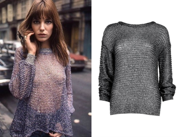 Jane Birkin If you're looking for an alternative to the dreaded Christmas jumper then look no further than the metallic knit. Jane Birkin made it look timelessly chic in the 70s. Dare to bare with nothing underneath or a hint or lingerie - warning, the office party may need an extra layer. BOOHOO METALLIC LOOSE KNIT JUMPER SHOP NOW >