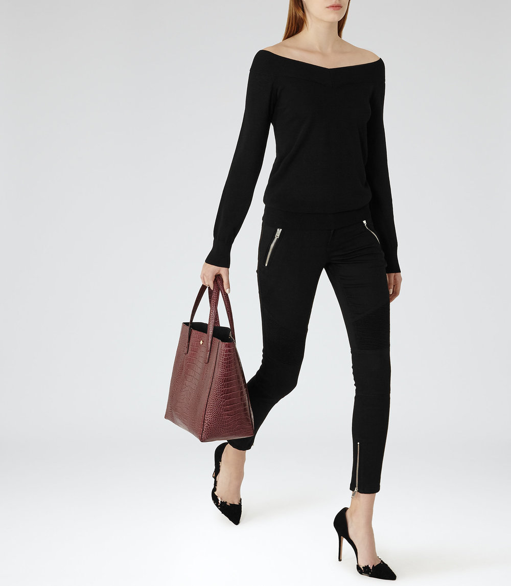 Reiss black cold shoulder top