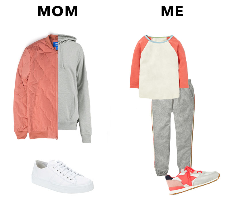 MOM//  Adidas Bomber - ASOS  /  Grey hoodie - Boohoo  /  White Sneakers - Phase Eight  /  ME//  Sneakers  /  Joggers  /  Raglan tee  - All Boden