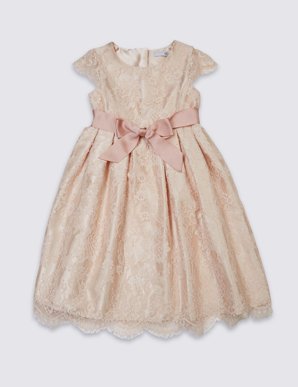Lace Front Bow Dress at M&S
