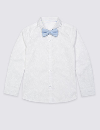 Pure Cotton Shirt with Bow Tie (3 Months - 5 Years)