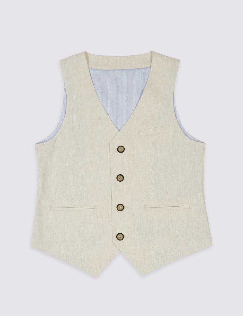 Linen Blend 4 Button Waistcoat at M&S