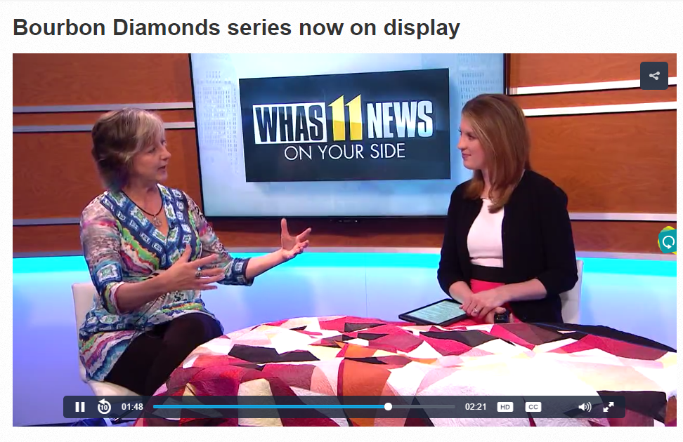 Me (left) talking about the Makers' Crucible Derby Party on April 20th with WHAS11's Brooke Prater (right).