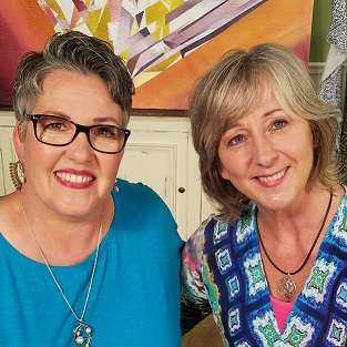 Susan Brubaker Knapp, host of  Quilting Arts TV,   and me during the taping of Wild-Motion Machine Quilting.