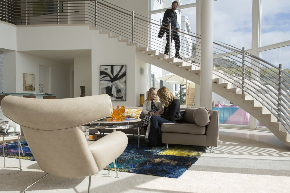 "Scene from HBO's  Big Little Lies,   ""Ox Chair""  designed by Hans J. Wegner"
