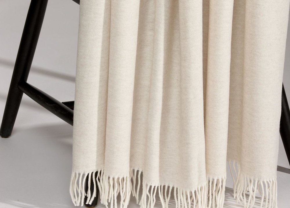 Merino Wool Throw, Sand