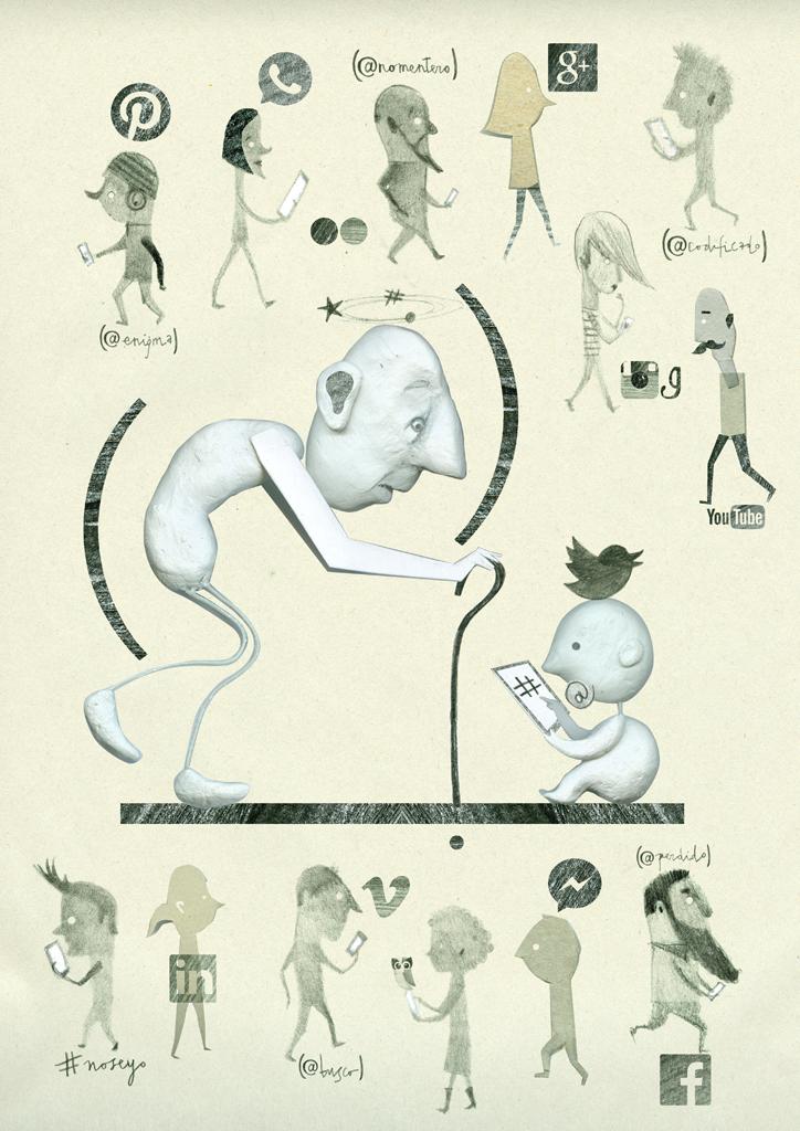 """Ilustración """"Realidad hiperconectada"""", para el fanzine Voilá."""