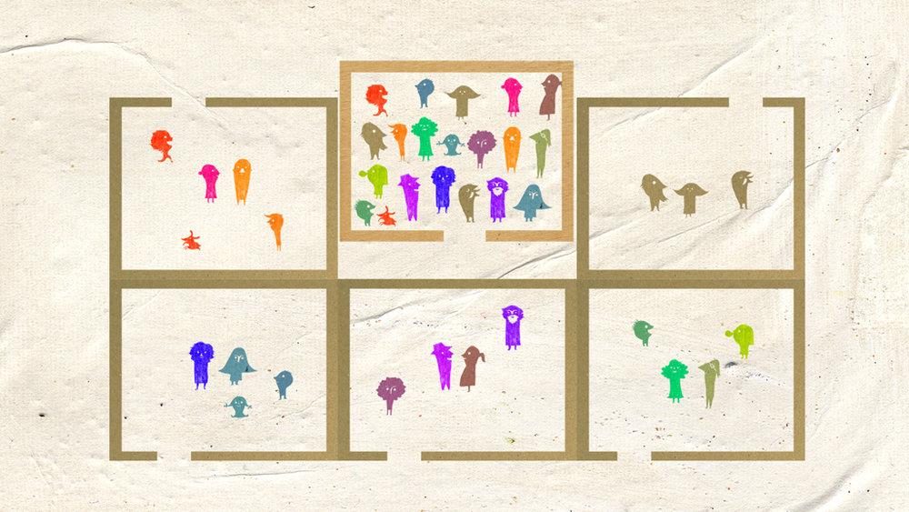 """Ilustraciones y animación para el proyectode """"Entrepatios Cohousing"""" en La Milagrosa."""