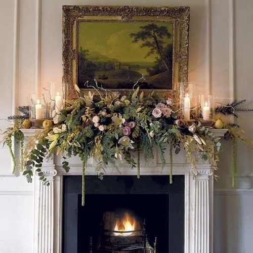 large mantle flower arrangements