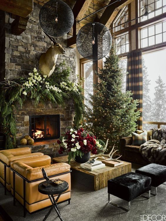 stone fireplace winter garland