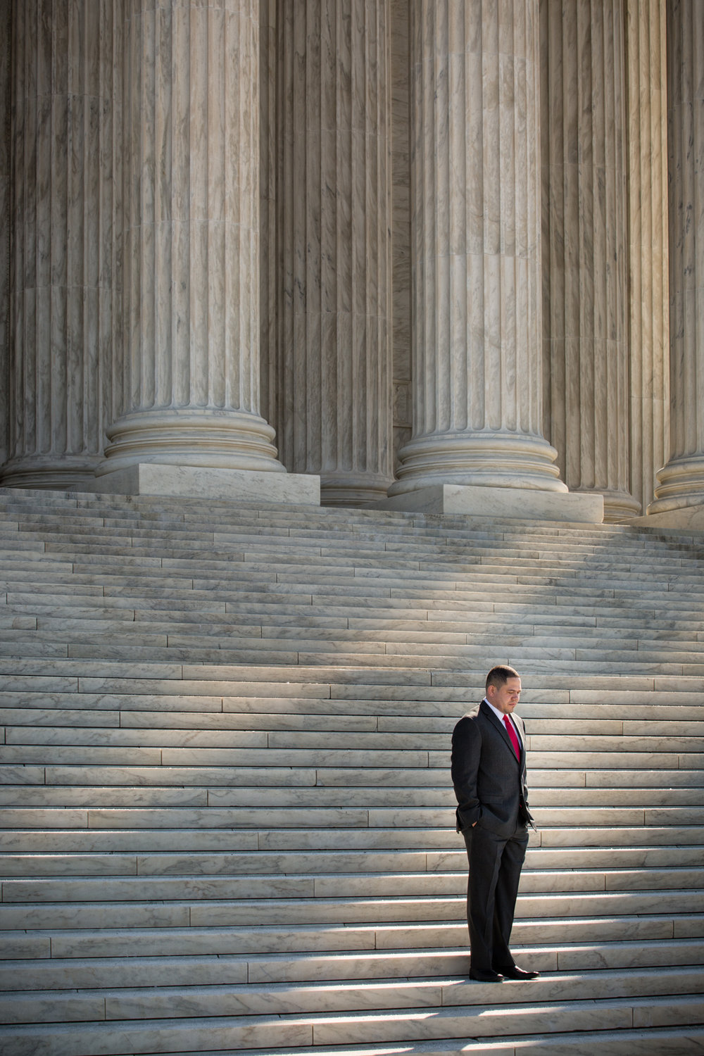 James Dold, Advocacy Director at the Campaign for Fair Sentencing of Youth in Washington, DC, on the steps of the Supreme Court.