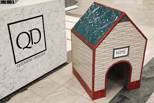 Dog's need a home too! Check out this dog house tiled with Quemere that will be displayed at @coveringsshow in Atlanta May 8-11! #Booth7448 #🐶 . . . #coverings18 #dogs #pets #doghouse #ceramictile #handcrafted #handcarved #handpainted