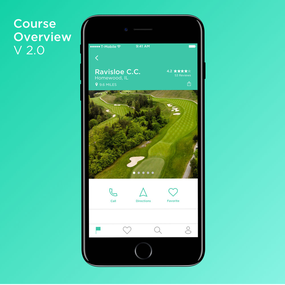 In testing, users wanted to be able to call or start navigation to a course right away, an action menu was added.