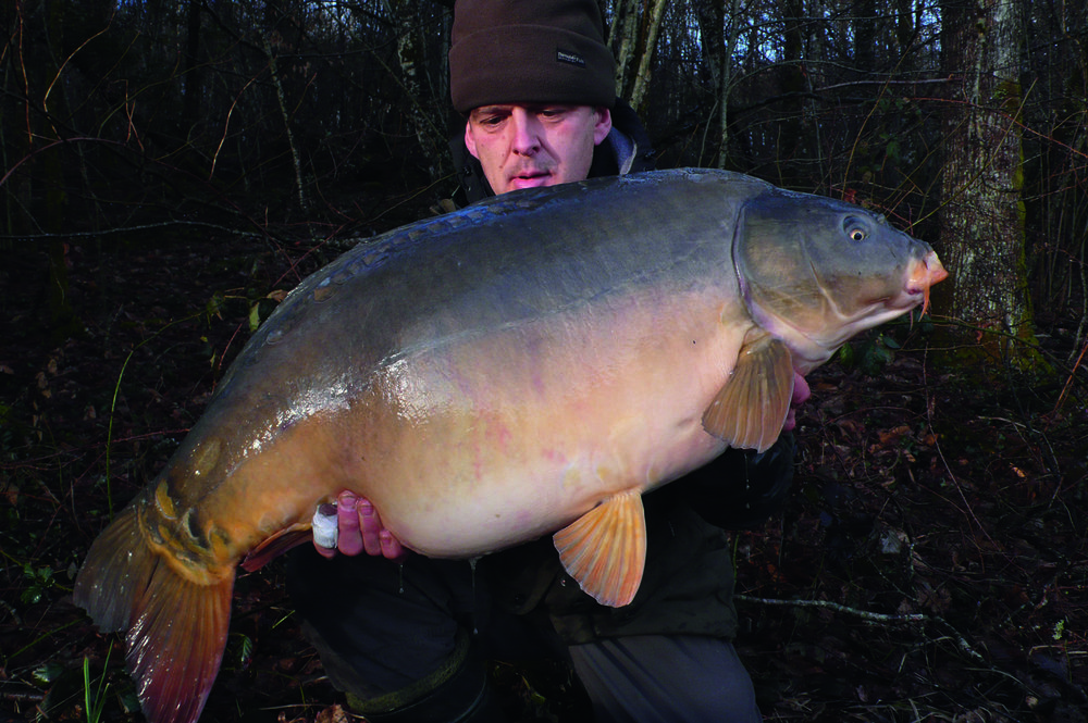 A nice 50lb+ mirror caught from a tiny spot that produced many fish that winter. Being even a few feet away from this spot did not produce one carp