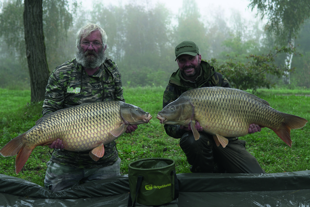 Neighbour Jon and I with a brace of 40lb+ commons.