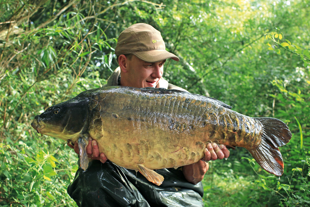 A 34lb 4oz mirror caught from the big pit during the early stages of the year