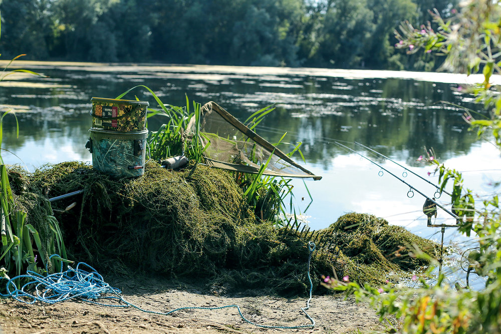 A normal-sized rake head on a stout length of rope. Ideal for clearing some channels at the front of the swim, for playing fish to the bank
