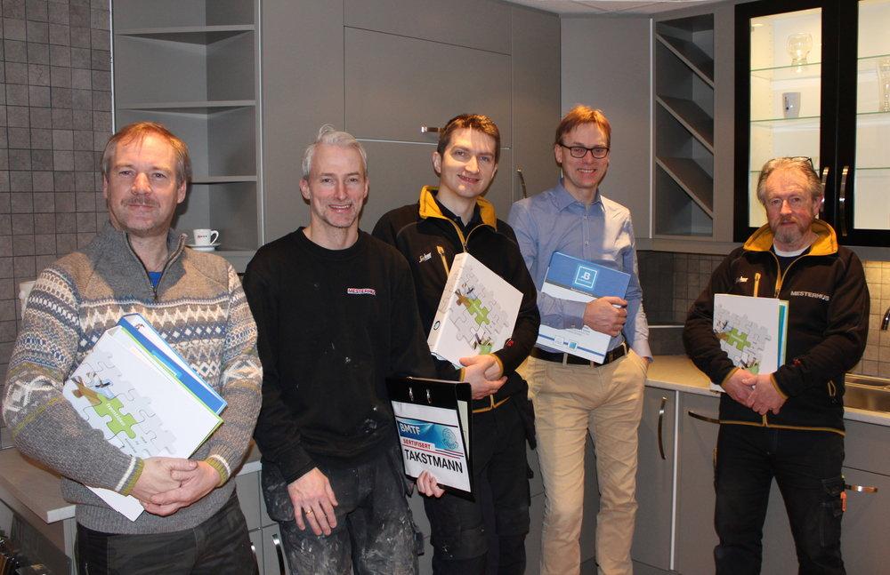 Frå venstre: Terje Tranvåg, Børre Heltne, Erik Nedreberg, Henning Heltne og Harald Busch.