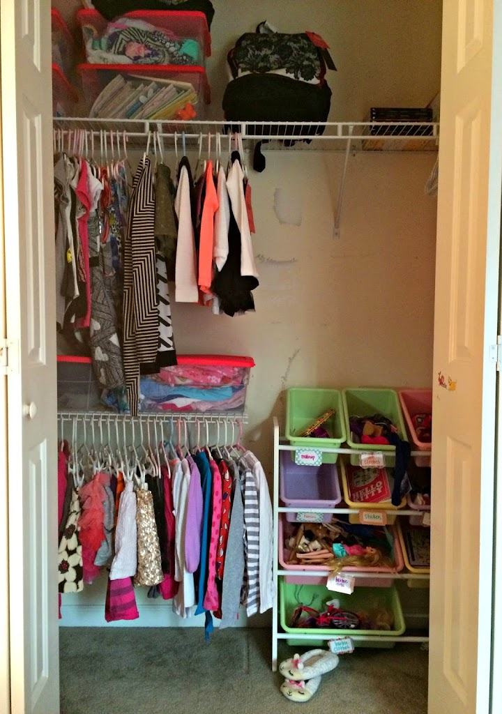 The Girls Closets Before. Dark, Dingy And Completely Unorganized. Not To  Mention There Is A Lot Of Wasted Space!