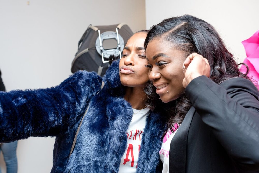 Bri snapping a selfie with Gyrl Wonder founder, Tola Lawal