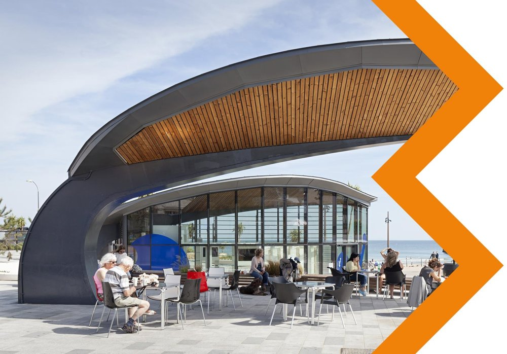 Pier Approach Kiosk, Bournemouth - To provide a visitor information centre and a shelter in the centre of pier approach on Bournemouth's seafront.Client: Willmott DixonTonnage: 22Market sector: LeisureProject Value: £150,000