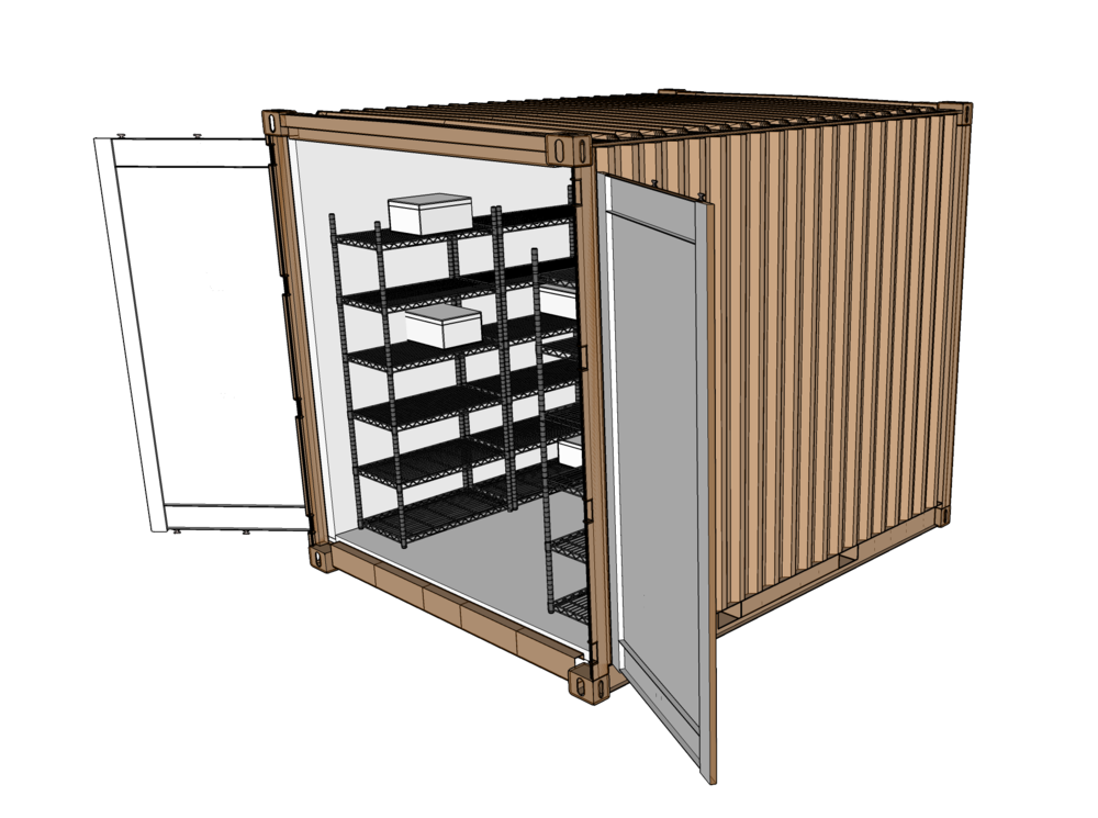 Crop Cooler - The Crop Cooler brings urban farming and gardening to an elevated level by providing a space to cold store crops. This structure is a modified shipping container that uses a common household A/C unit to refrigerate it. A Coolbot is attached to trick the A/C unit into reaching refrigeration temperatures. Just add wire shelving and battery-operated lighting and the Crop Cooler is ready to store crops.