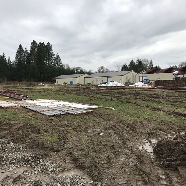 The Dewey Farms crews hard at work getting more buildings up. #portland #oregon #oregonmade #cannabiscommunity #marijuana #deweyfarms #construction #steelbuildings #indoorgrow #growspace