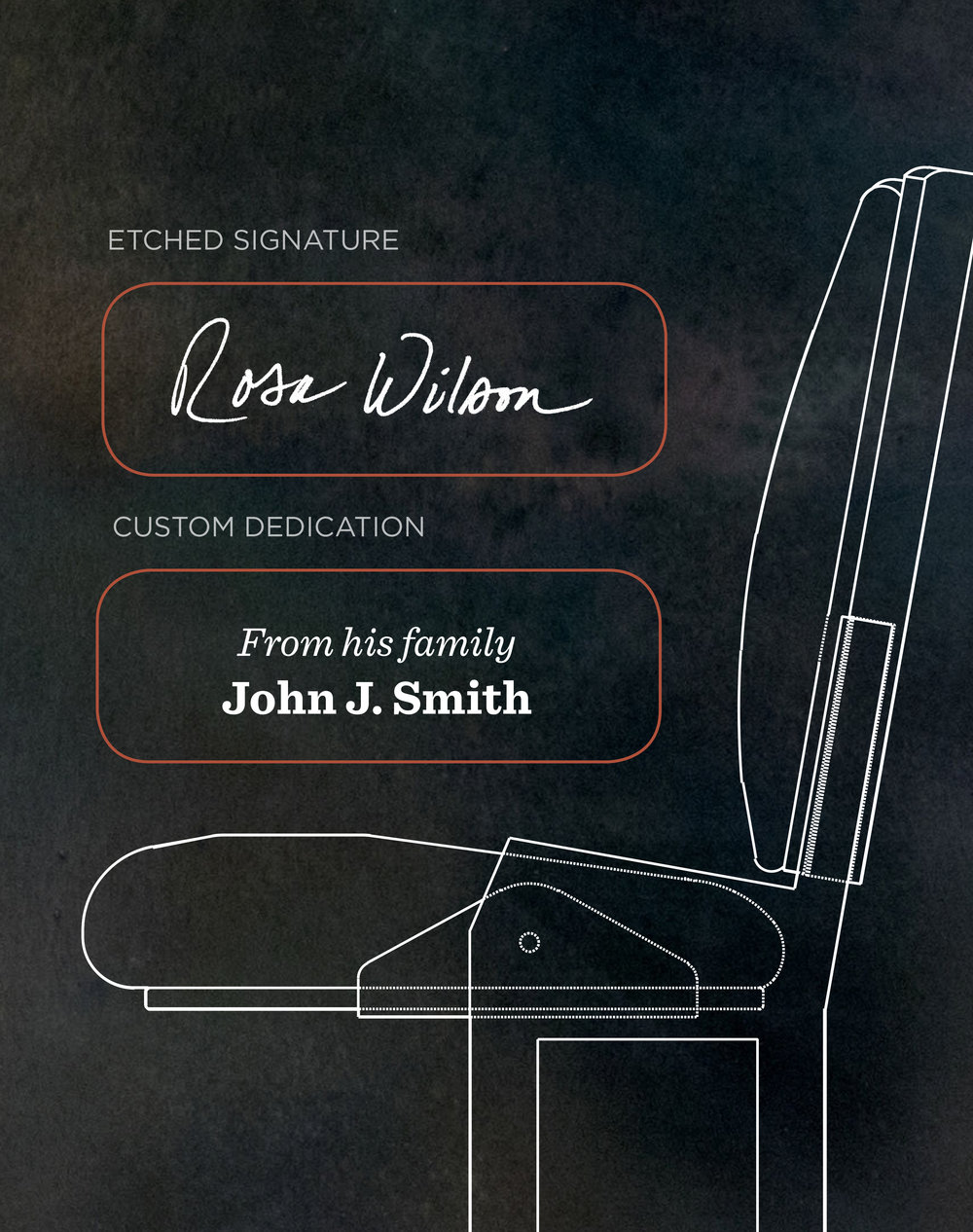 Donors have the option of engraved letters or etching their personal signature on blackened steel on each of just 275 chairs in the mainstage.