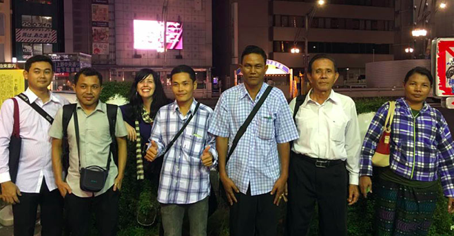 Katherine on an advocacy trip to Tokyo with community leaders from Myanmar and ERI staff in September 2016 (photo credit: Democratic Voice of Burma)