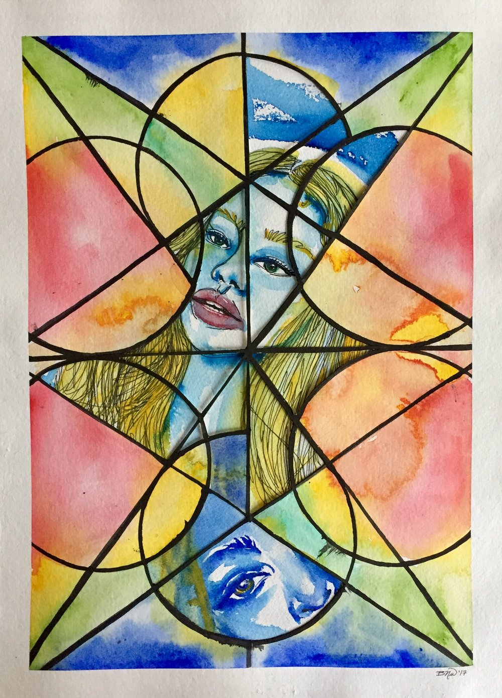 Glass Prism I   2017. Watercolor and ink collage on paper.  11 x 15.  $100 -  SOLD