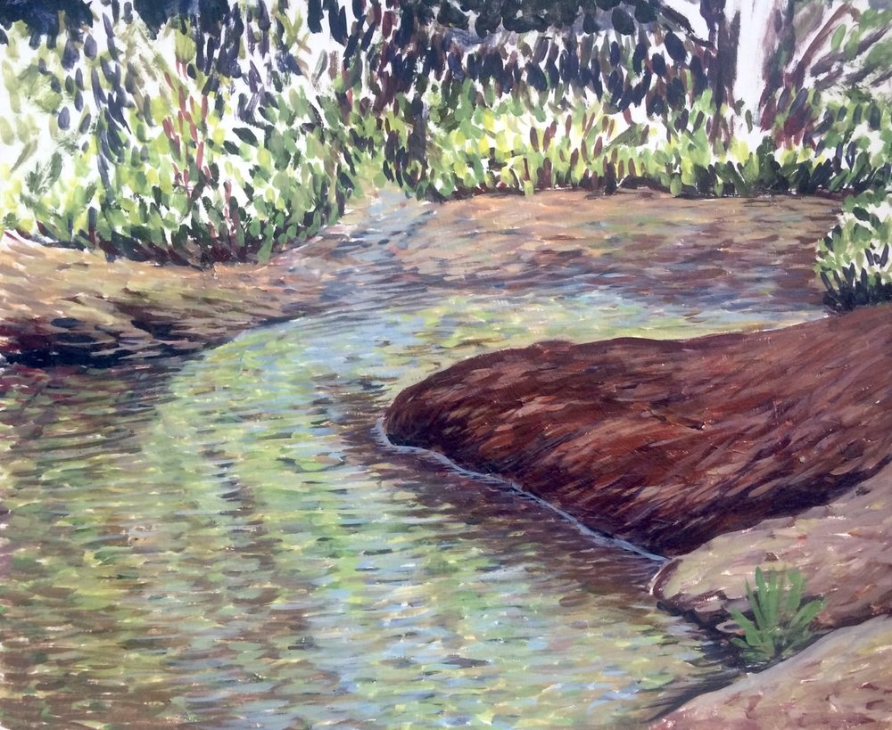 The Creek   2015. Oil on gessoed cardboard.