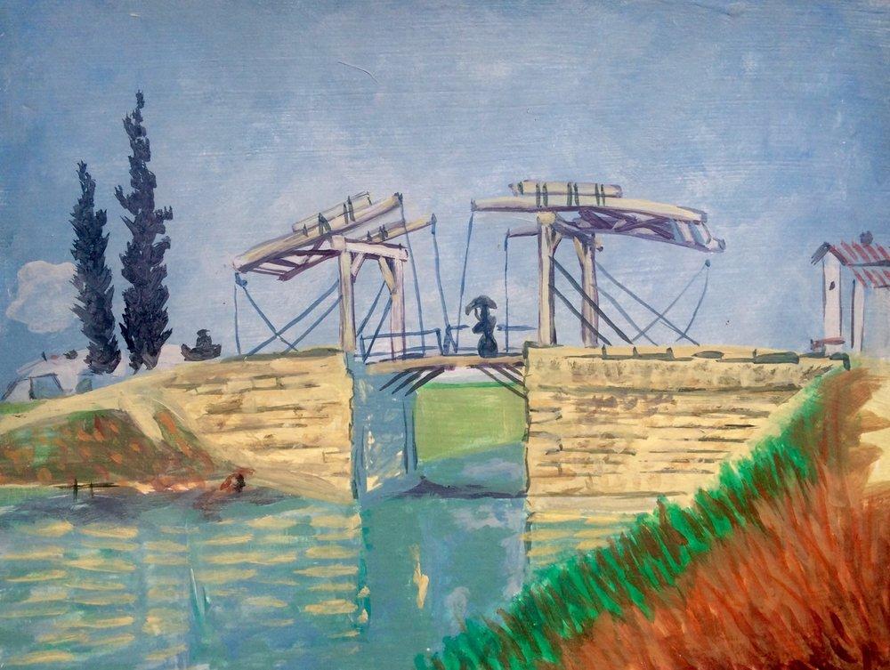 """Master Copy of Van Gogh's """"Langlois Bridge""""   2015. Oil on gessoed cardboard."""