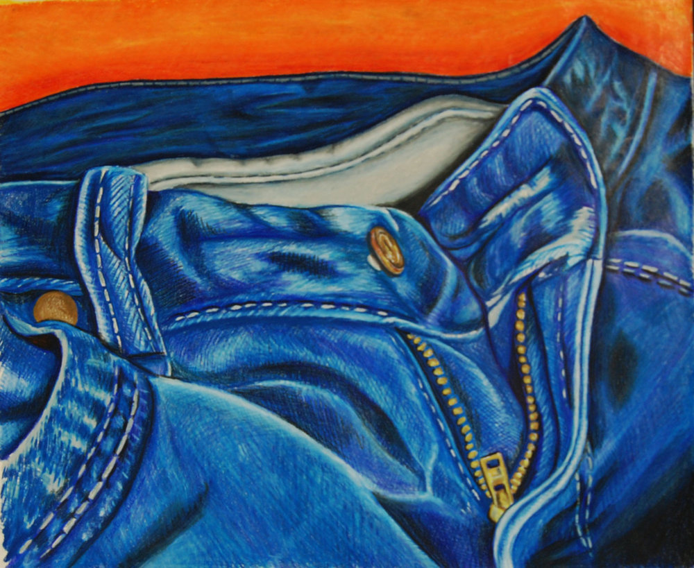 Blue Jeans   2011. Colored pencil on paper.