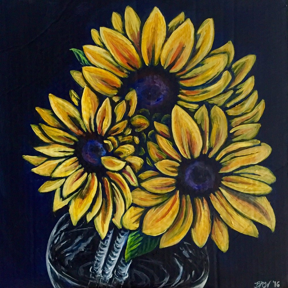 Sunflower Nights  -  SOLD   2016. Acrylic on cardboard. 18 x 18.