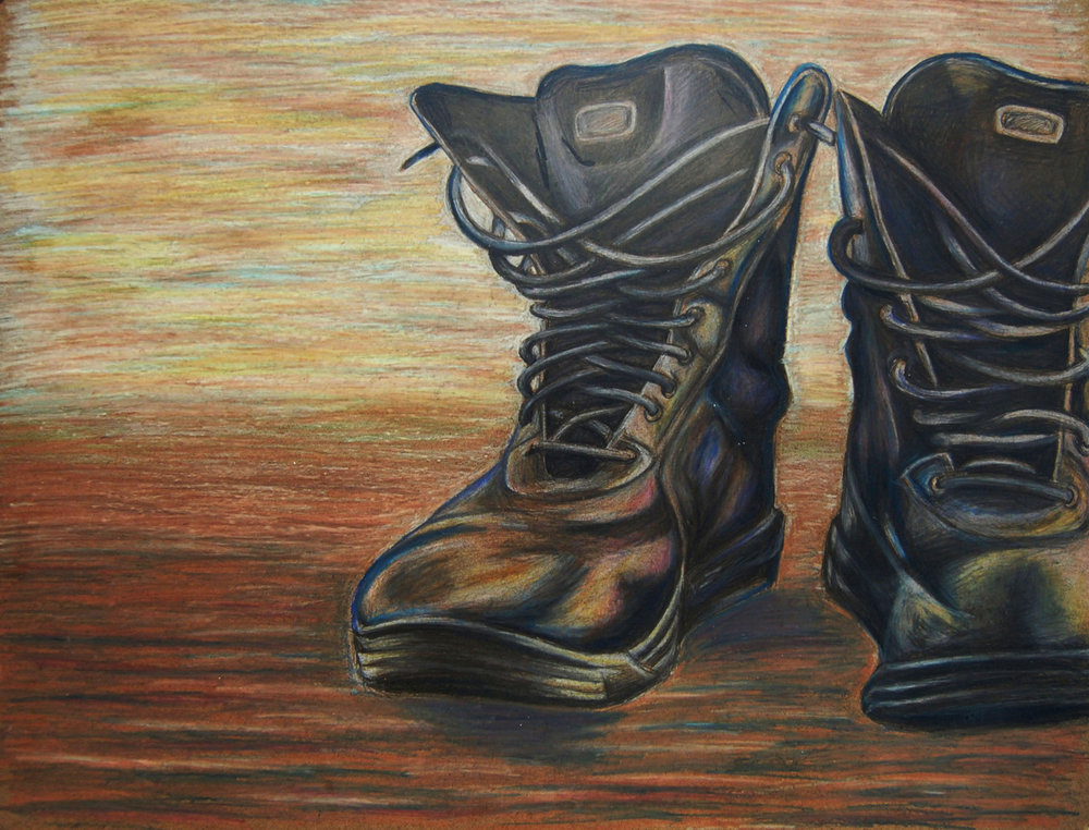 Boots   2011. Colored pencil on board. 18 x 24.