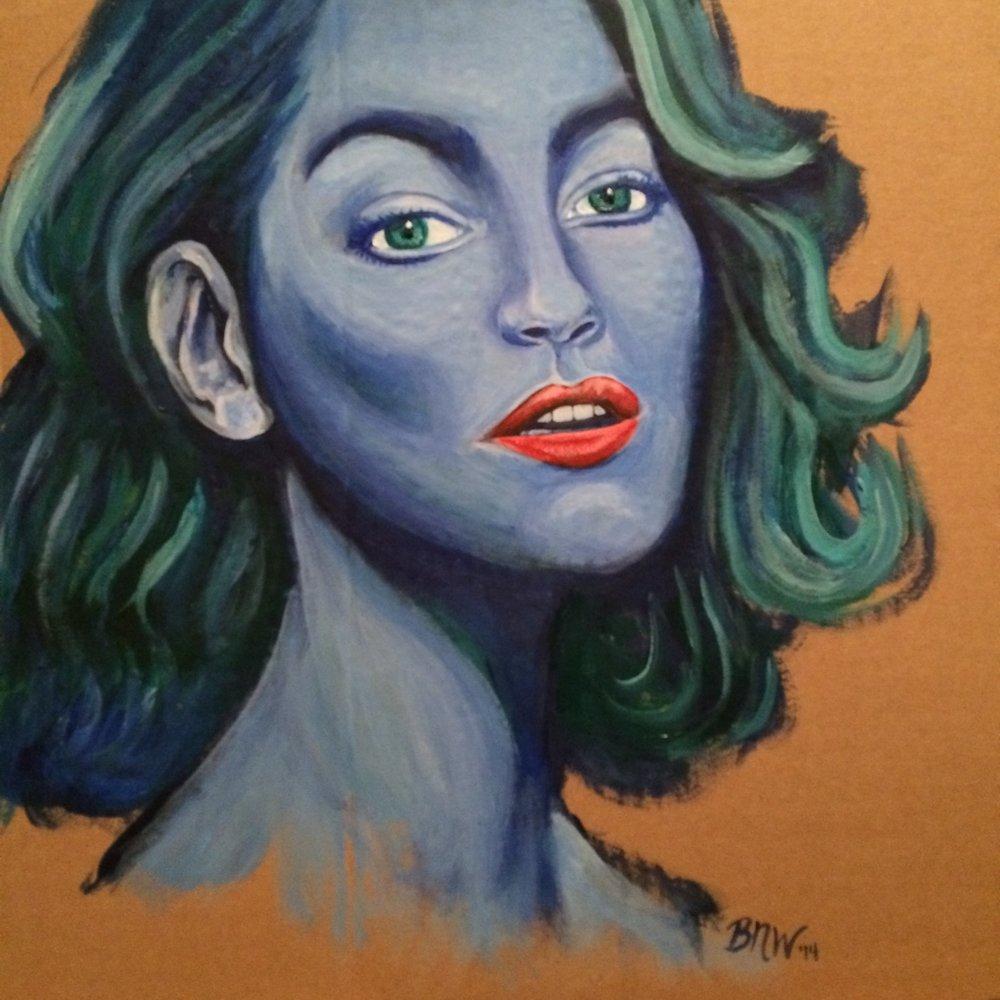Woman in Blue   2017. Acrylic on cardboard. 18 x 18.